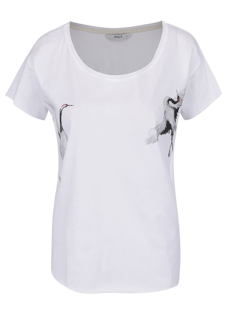 Tricou alb ONLY Draw Cranes cu imprimeu