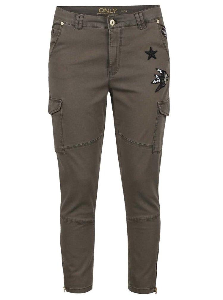 Pantaloni kaki ONLY Amy cu aplicații