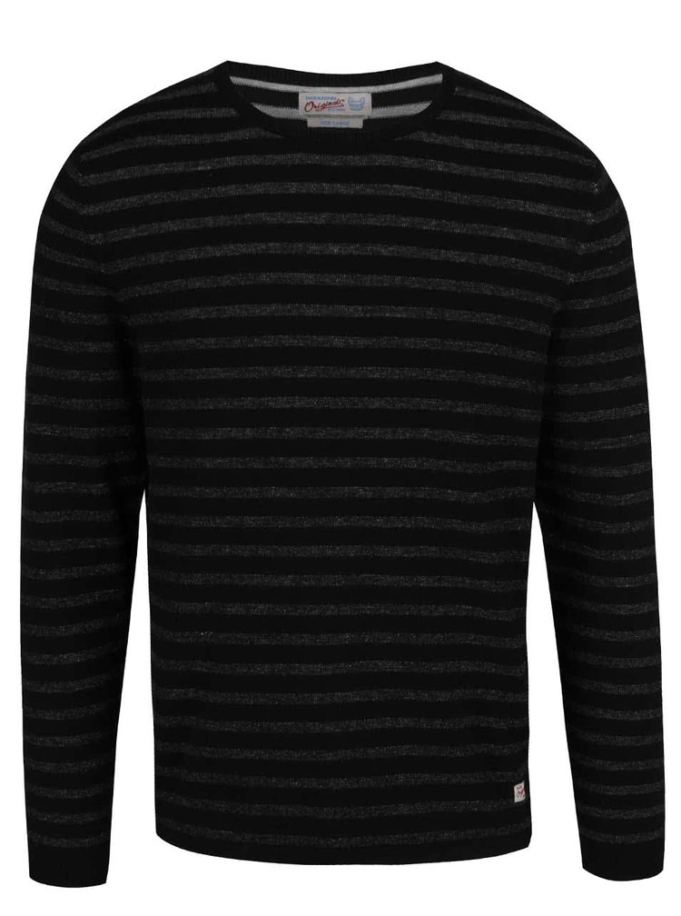 Bluză neagră Jack & Jones Leo din bumbac cu model în dungi