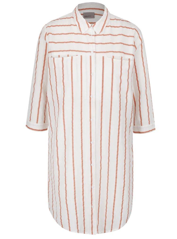 Krémová dlouhá košile s hnědými pruhy VERO MODA Stripy
