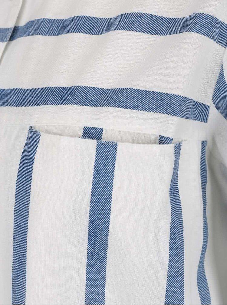 Krémová dlouhá košile s modrými pruhy VERO MODA Stripy