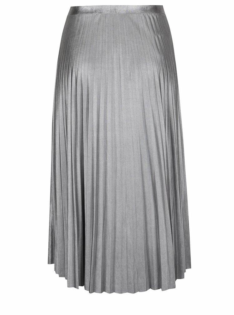 Plisovaná midi sukně ve stříbrné barvě ONLY Alice