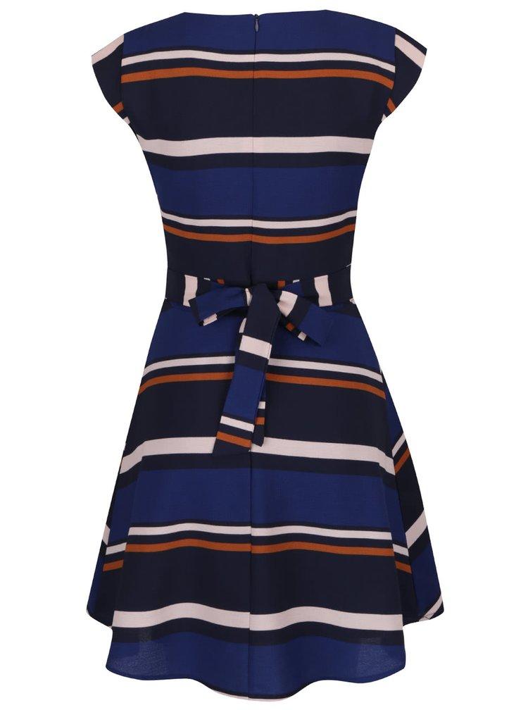 Modré pruhované šaty s páskem Mela London