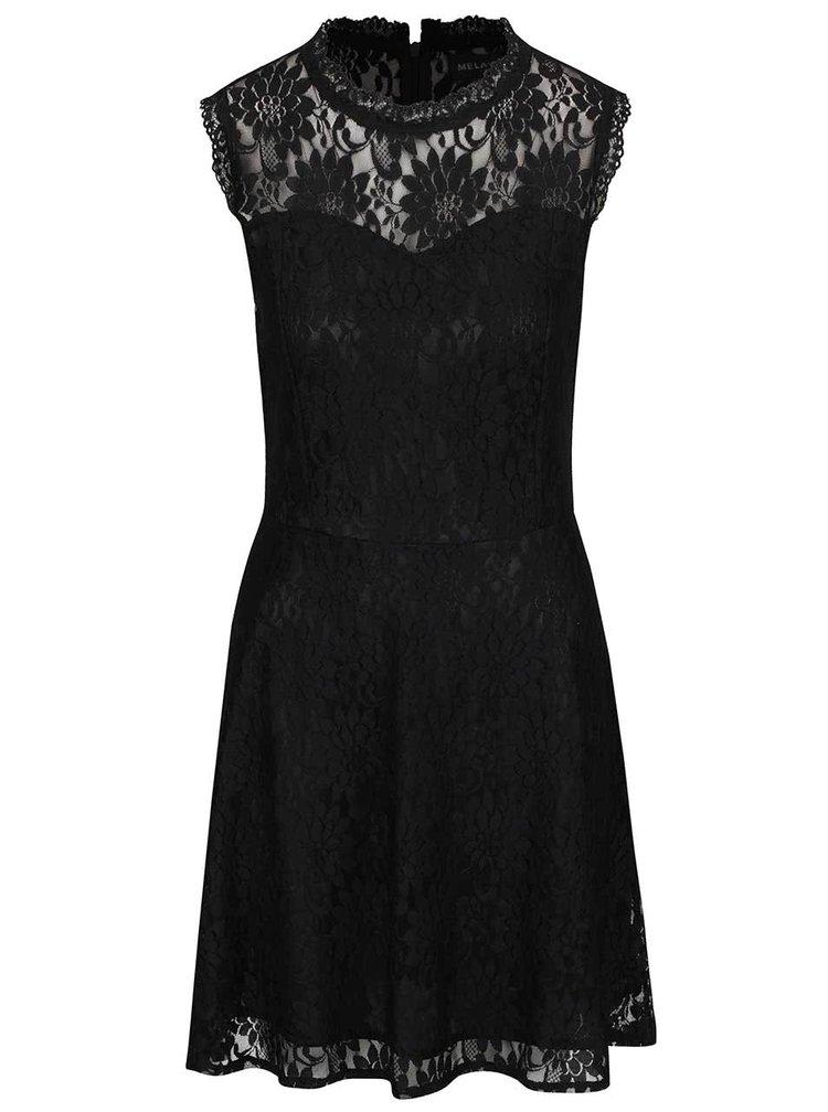 Rochie mini neagră Mela London din dantelă