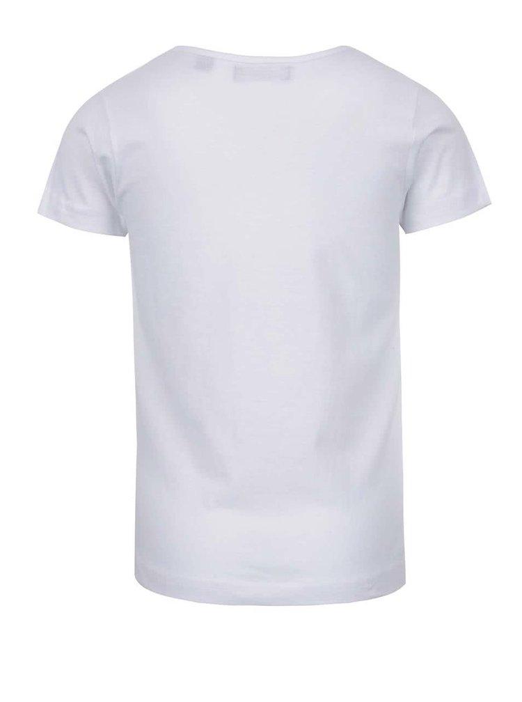 Bílé holčičí tričko s potiskem Blue Seven