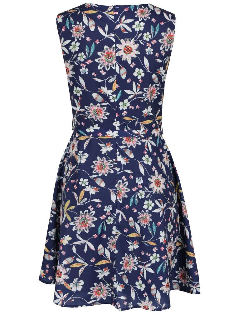 Rochie albastra Mela London cu model floral