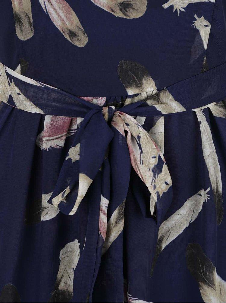 Rochie lungă albastru închis Mela London cu model floral și guler cu decupaj