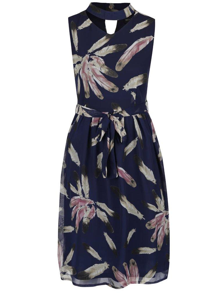 Rochie lunga albastru inchis Mela London cu model floral si guler cu decupaj
