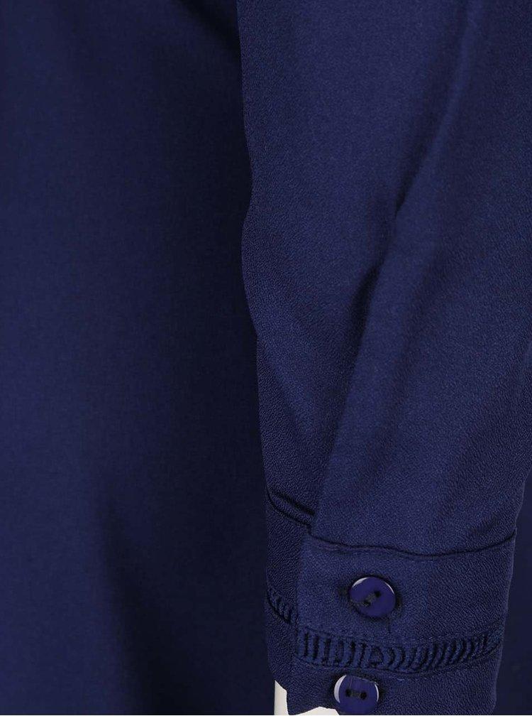 Rochie camasa lunga albastru inchis Mela London cu detaliu