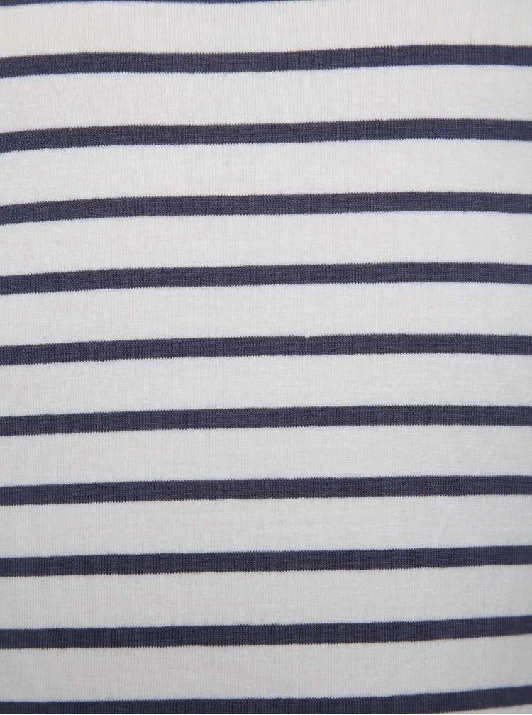 Rochie alb & albastru Blue Seven cu decupaj la umeri și model în dungi