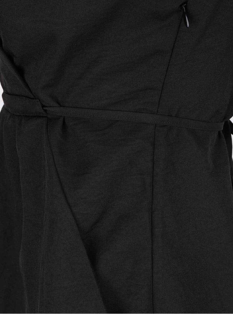 Rochie neagră Mela London cu guler cu revere și cordon în talie