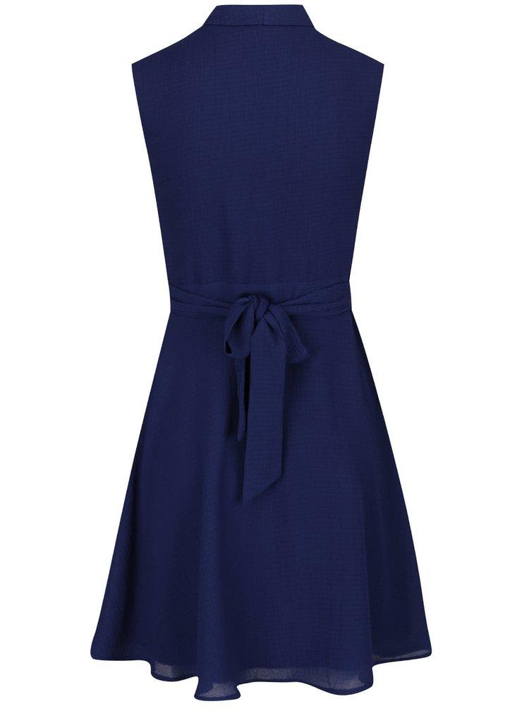 Rochie albastru închis Mela London cu guler cu revere și model discret