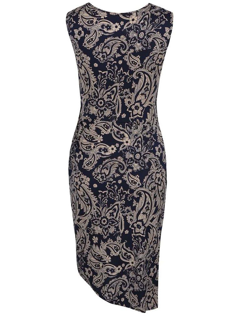 Rochie albastru închis Mela London cu model și tiv asimetric