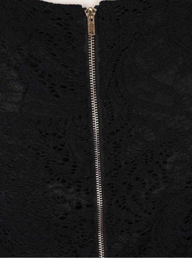 Rochie neagră Mela London din dantelă cu model
