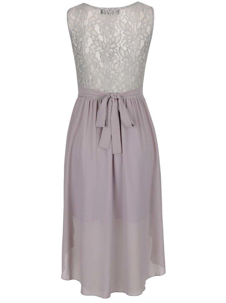 Šedé šaty s páskem Mela London
