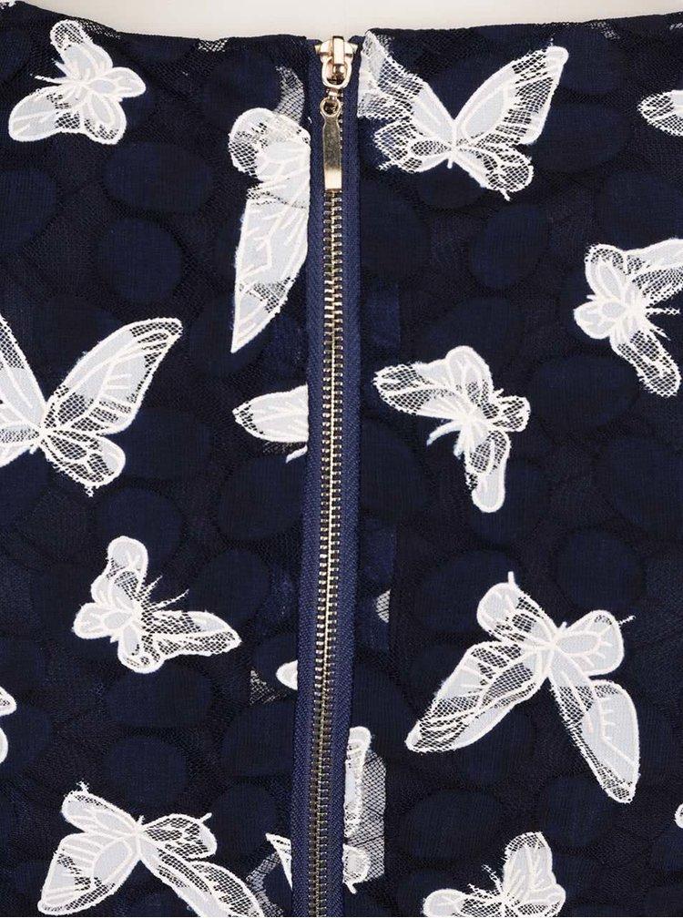 Rochie albastru inchis Mela London din dantela cu model