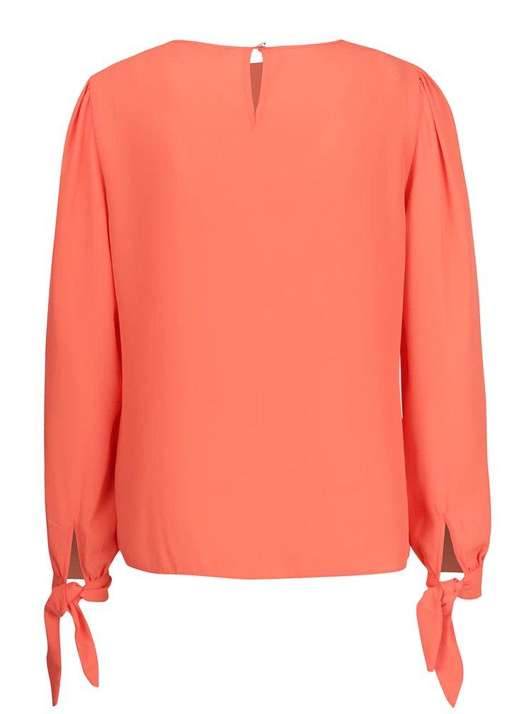 Bluza portocalie Dorothy Perkins cu panglici la maneci