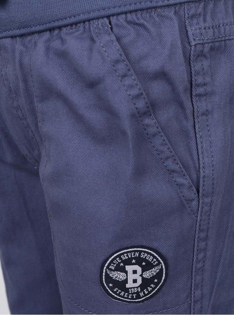 Pantaloni sport albastri Blue Seven din bumbac cu talie elastica si aplicatie