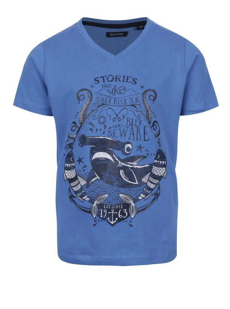 Tricou albastru Blue Seven din bumbac cu print