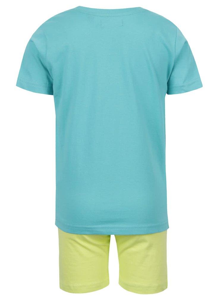 Set tricou albastru & pantaloni galbeni Blue Seven din bumbac cu print