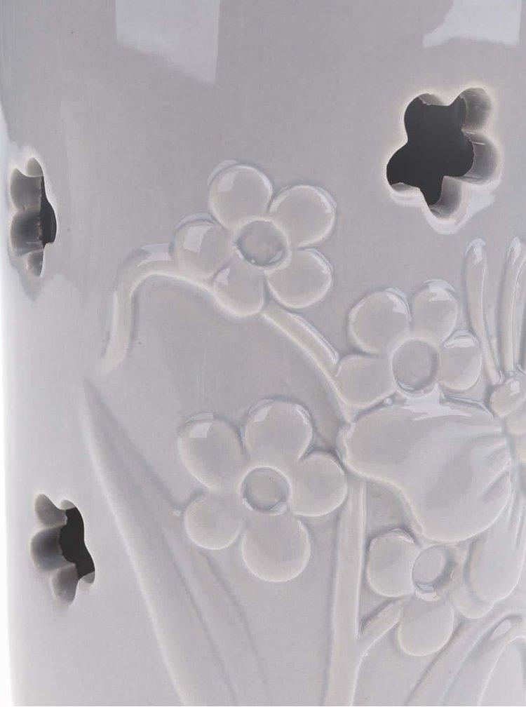 Světle šedý velký závěsný keramický svícen Dakls