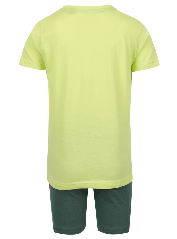 Set tricou galben și pantaloni verzi Blue Seven din bumbac cu print