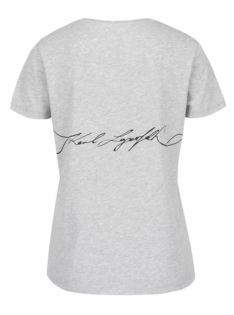 Šedé tričko s potiskem KARL LAGERFELD