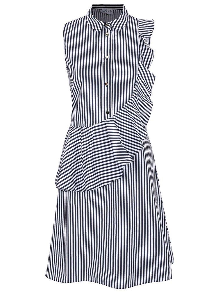 Modro-bílé pruhované šaty s volánem Closet