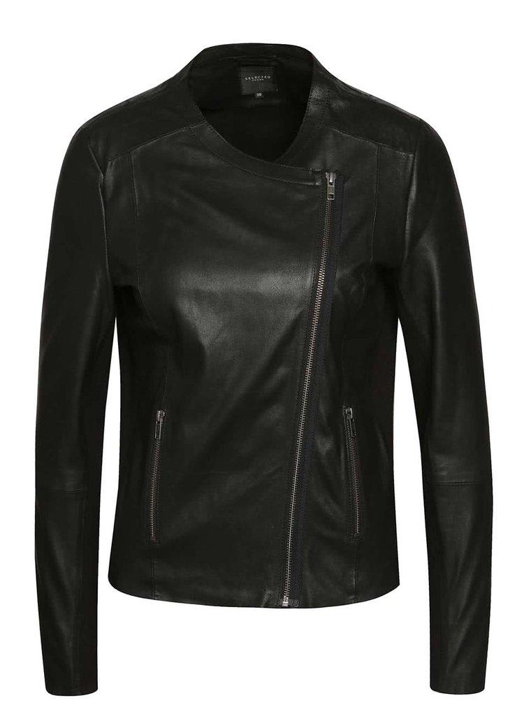 Černá kožená bunda Selected Femme Dan