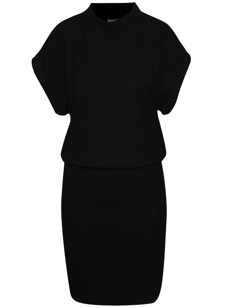 Černé žebrované šaty Selected Femme Rasti