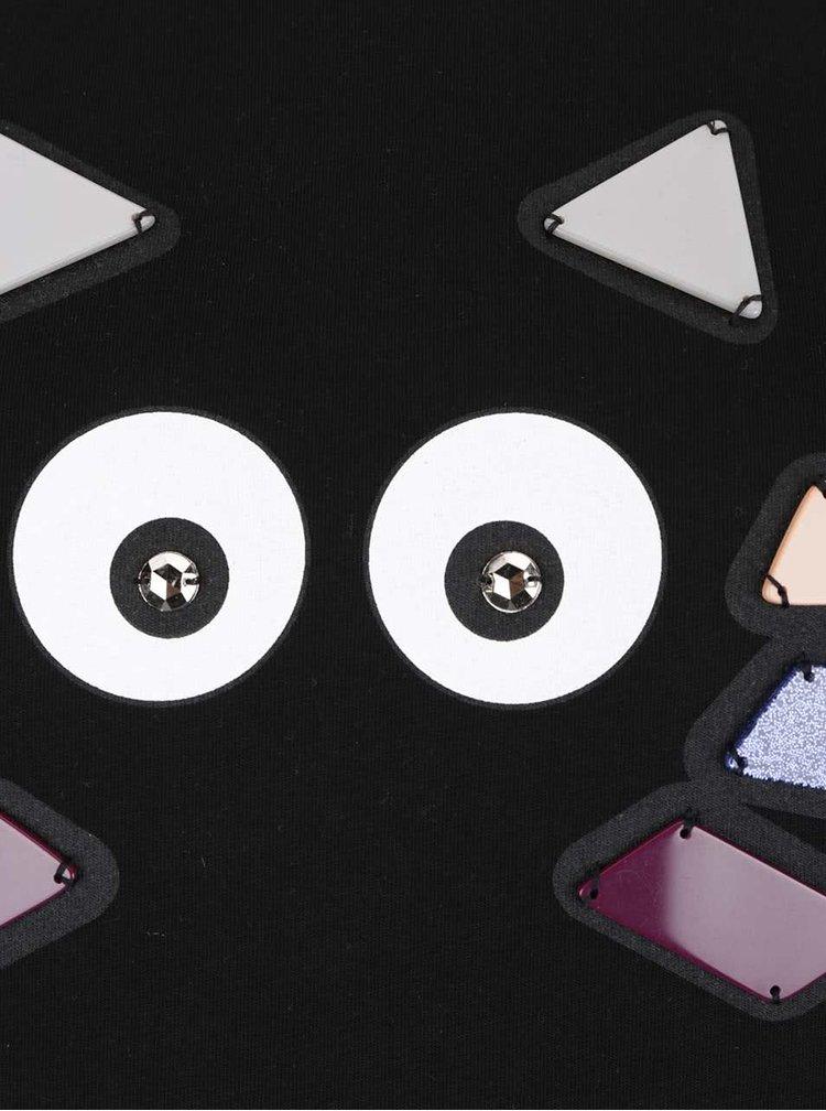 Černá mikina s barevnou aplikací KARL LAGERFELD