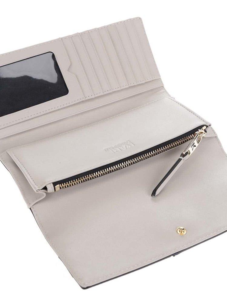 Stříbrno-béžová kožená peněženka KARL LAGERFELD