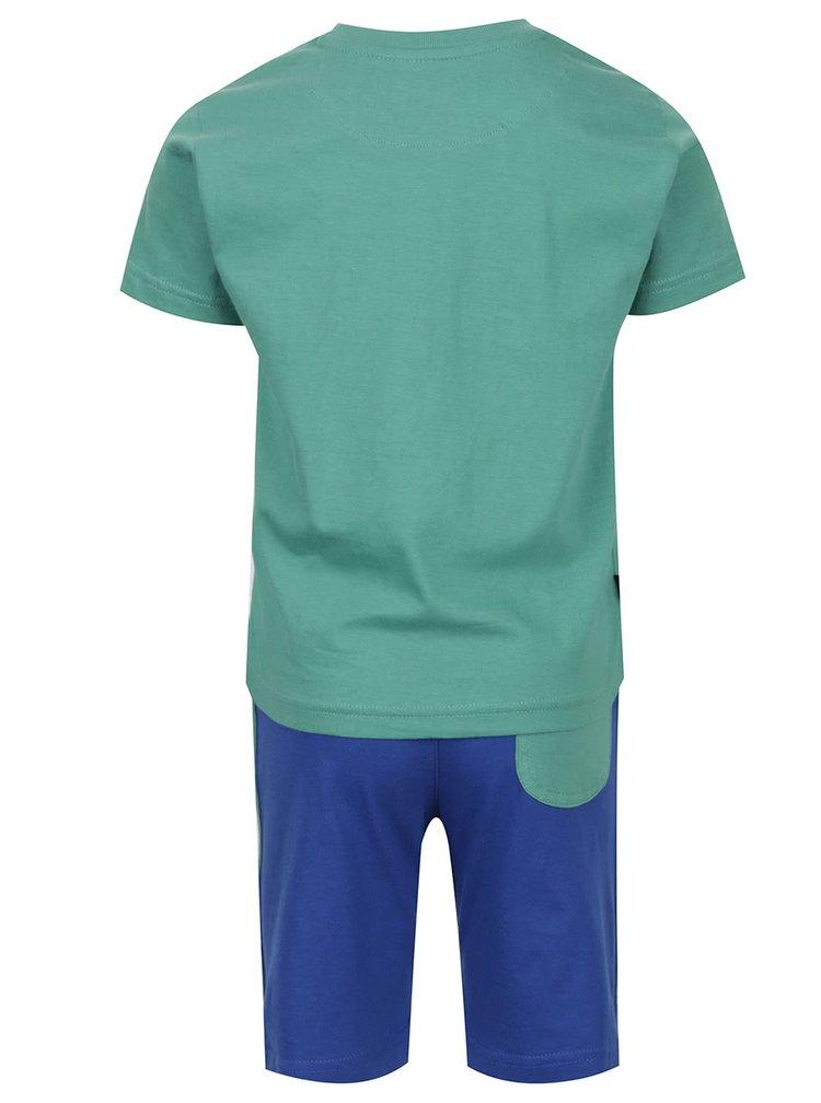 Set tricou & pantaloni scurti verde & albastru North Pole Kids din bumbac cu print