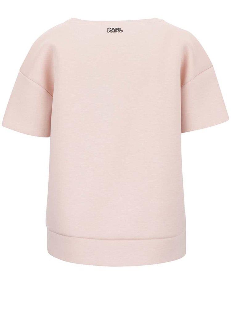 Světle růžový neoprenový top KARL LAGERFELD
