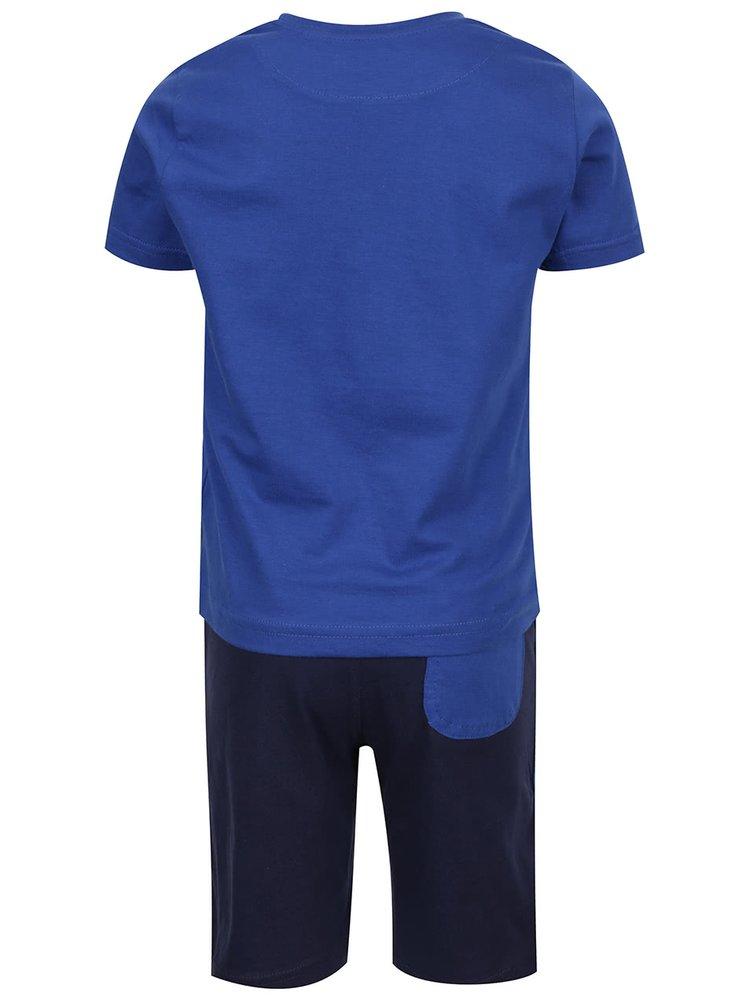 Set tricou & pantaloni scurți albastru & albastru închis North Pole Kids din bumbac cu print