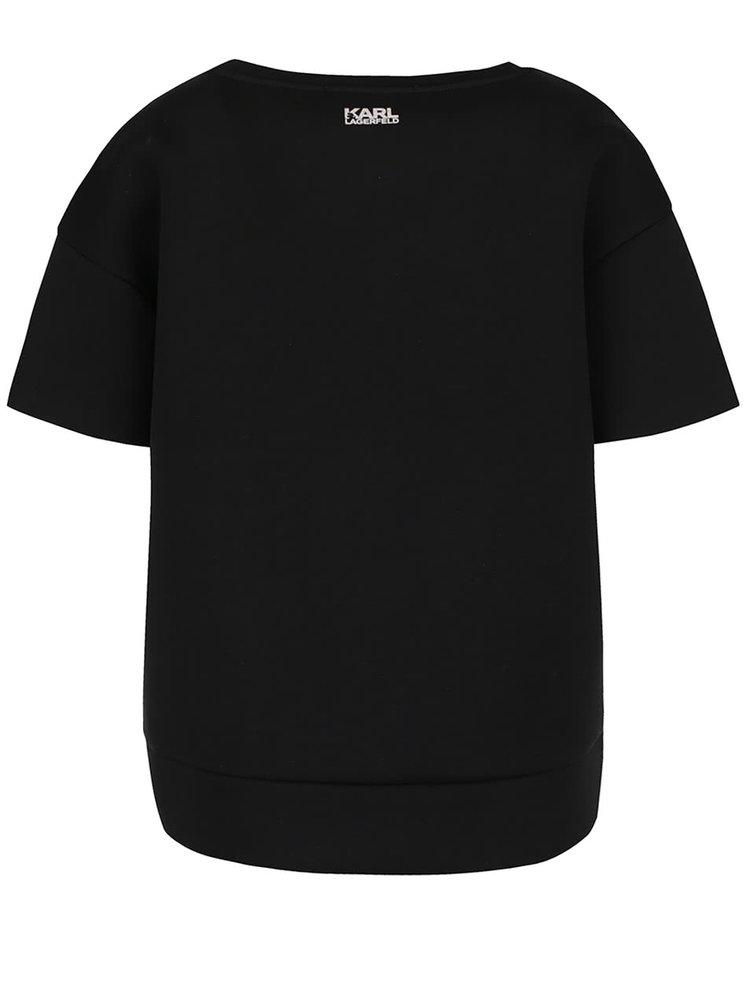Černý neoprenový top KARL LAGERFELD