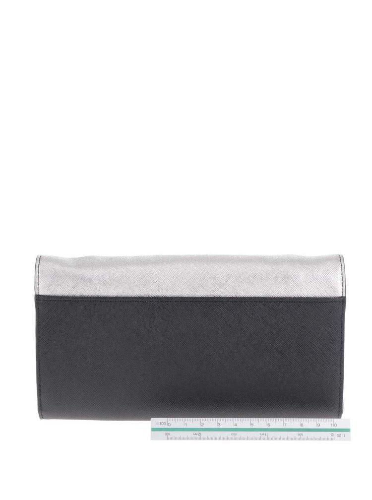 Šedo-černá malá kožená crossbody kabelka/psaníčko KARL LAGERFELD