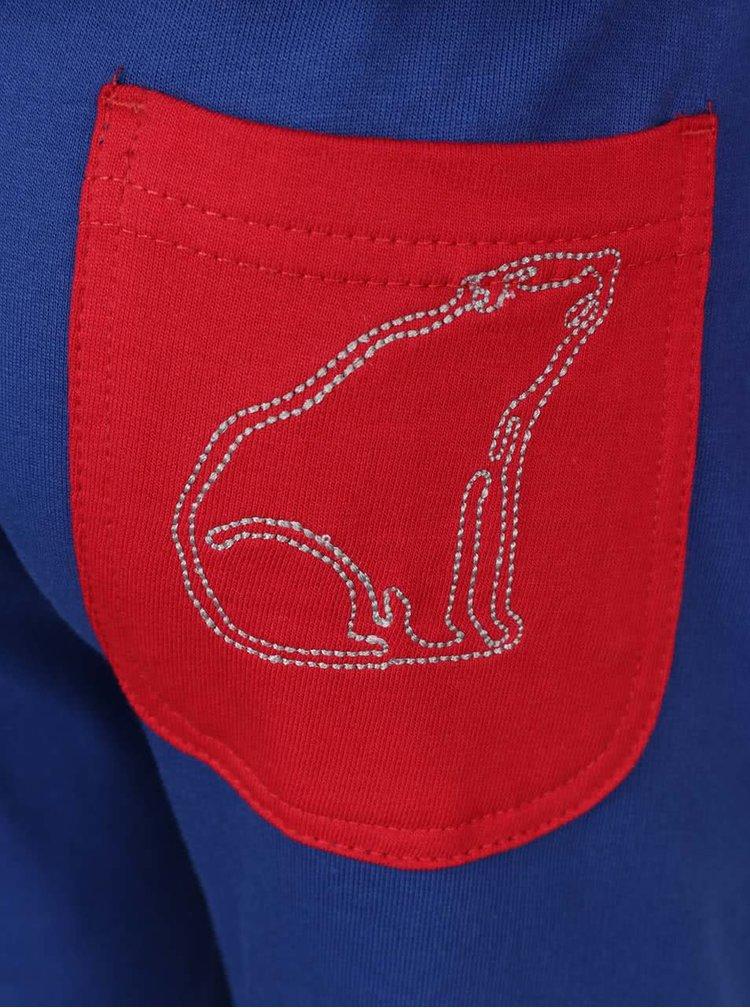 Set pantaloni & hanorac sport roșu & albastru North Pole Kids din bumbac cu aplicații și detalii