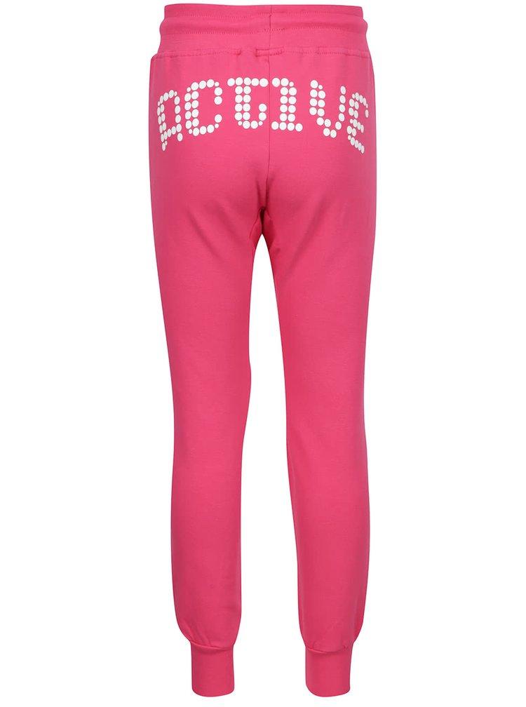 Pantaloni sport roz North Pole Kids cu buzunar Kangaroo și print pentru fete