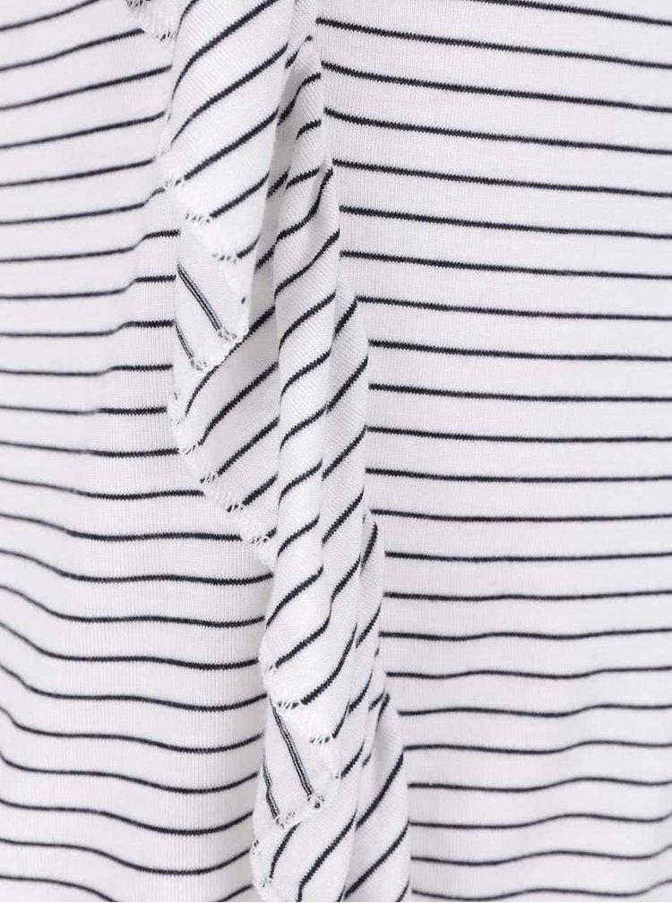 Černo-bílé pruhované tričko s volánkem Miss Selfridge Petites