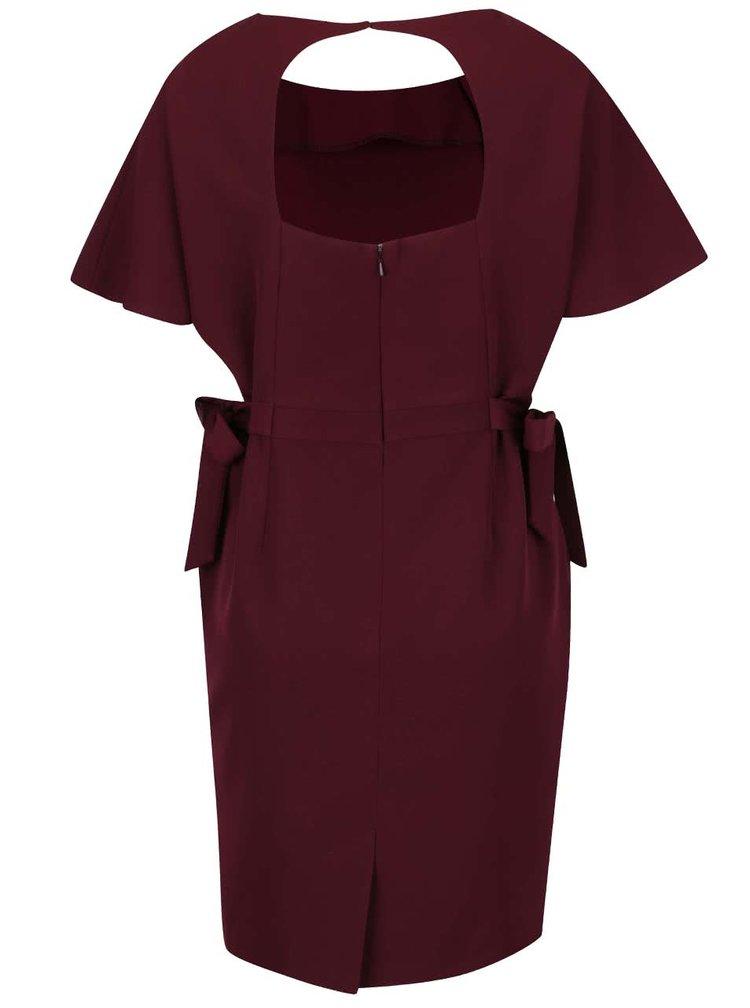Vínové šaty se zavazováním v pase Miss Selfridge