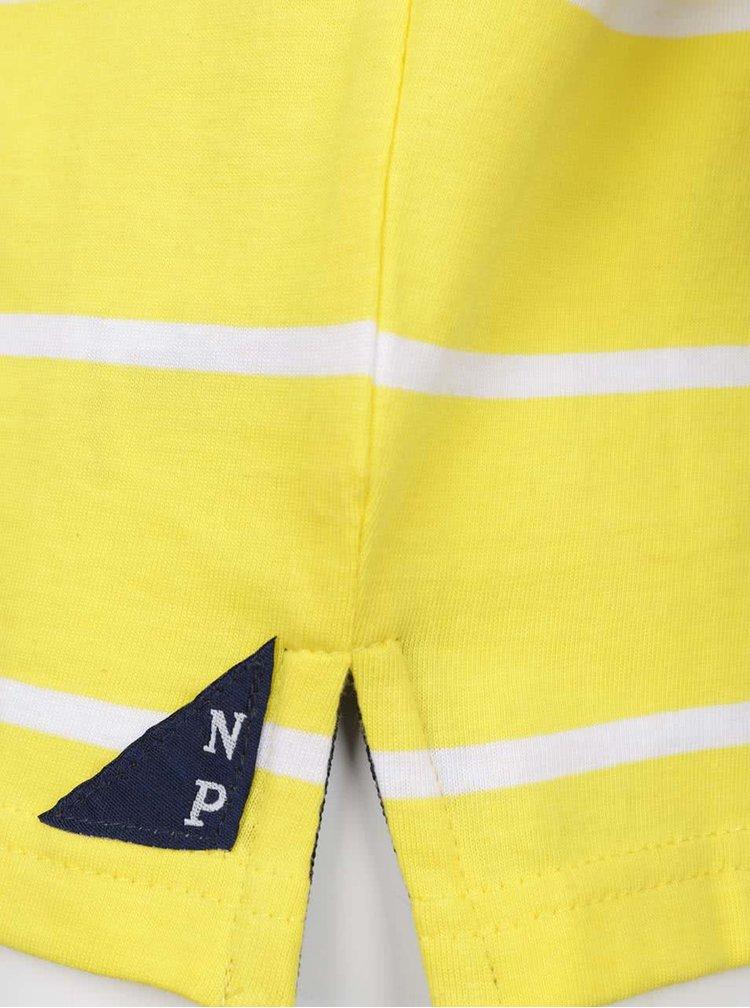 Tricou polo galben North Pole Kids din bumbac cu model în dungi și detalii albastru închis