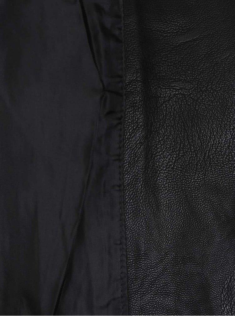 Jacheta neagra Miss Selfridge Petites din piele ecologica