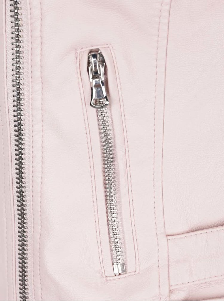 Světle růžový koženkový křivák Miss Selfridge Petites