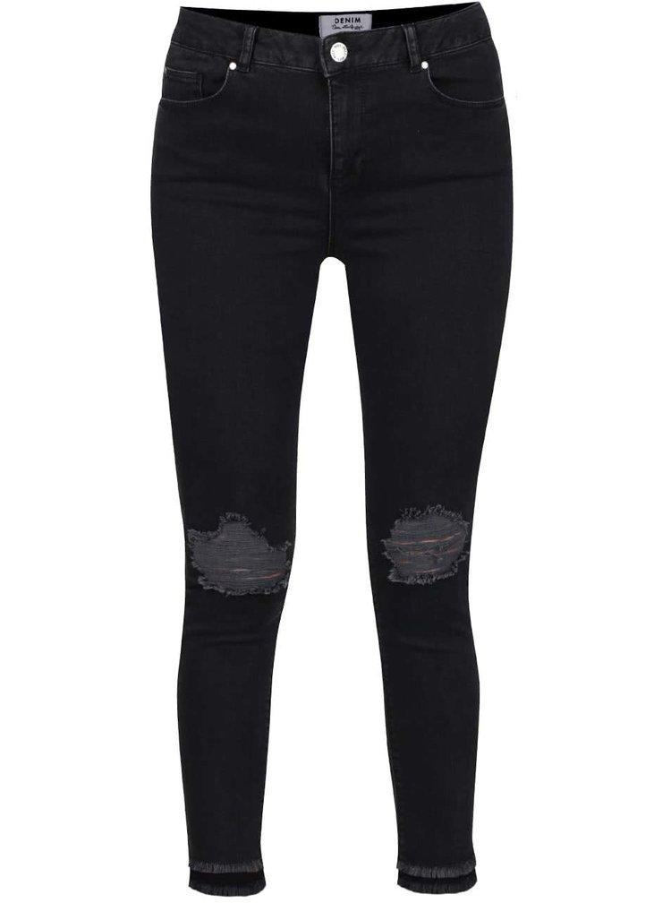 Černé skinny džíny s potrhaným efektem Miss Selfridge