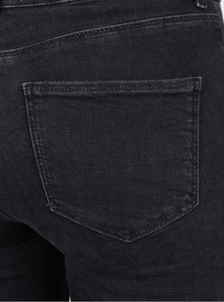 Tmavě šedé skinny džíny s potrhaným efektem Miss Selfridge