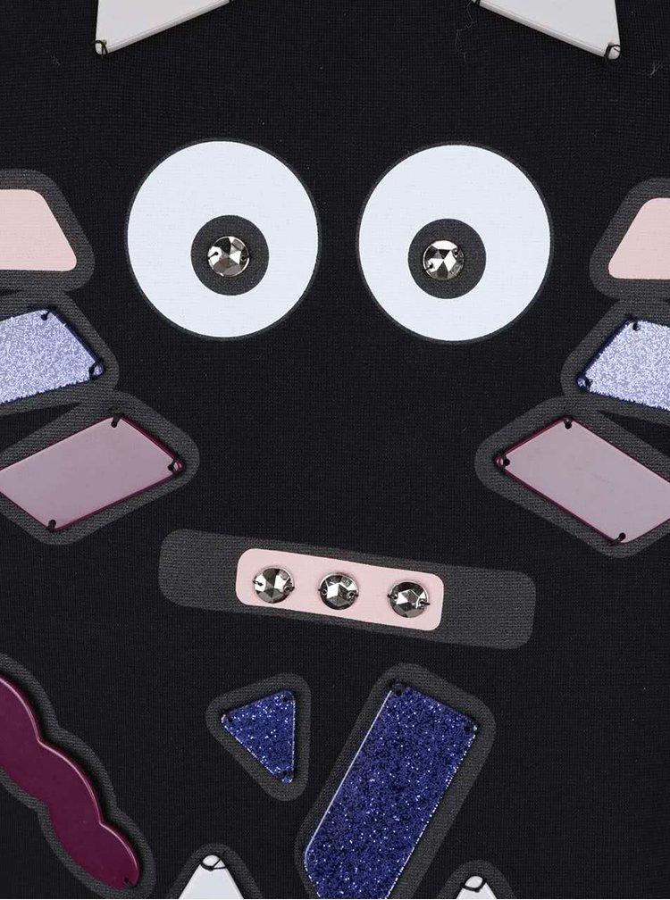Černé tričko s barevnou aplikací KARL LAGERFELD