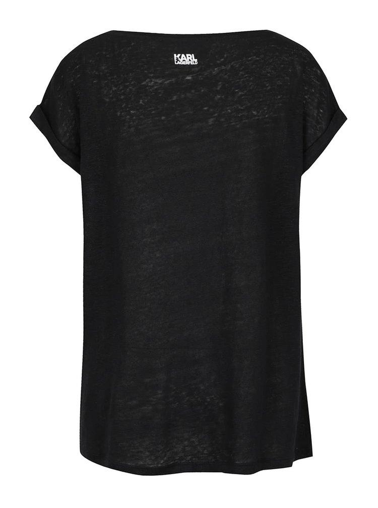 Černé lněné průsvitné tričko s motivem kočky KARL LAGERFELD