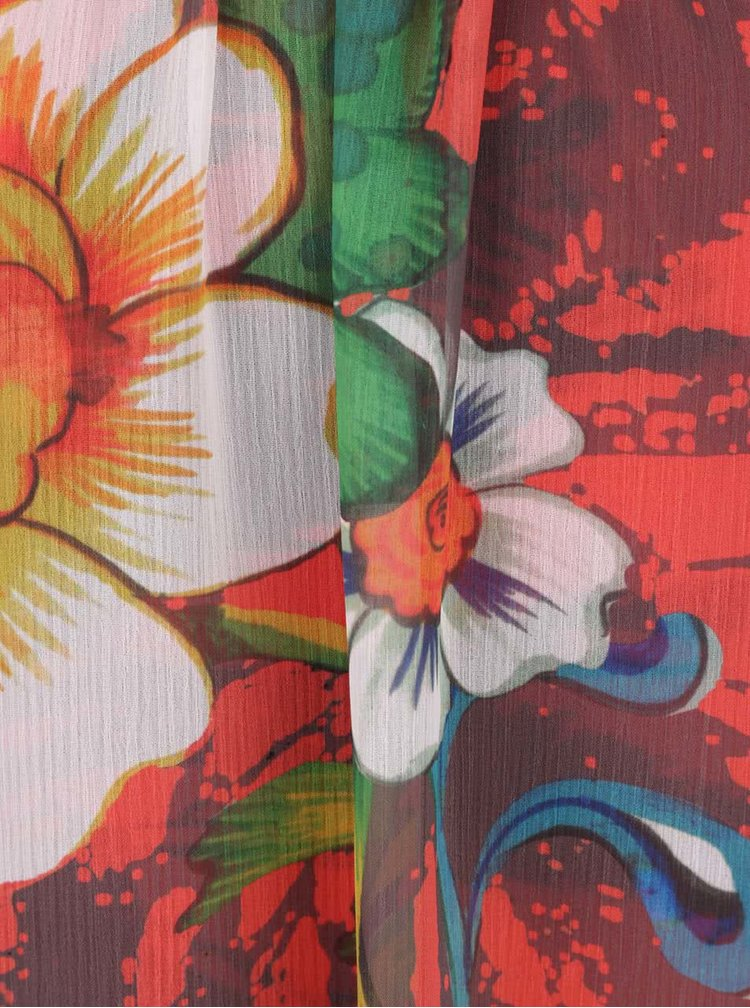 Rochie rosie Desigual Shayck cu model floral si croi lejer