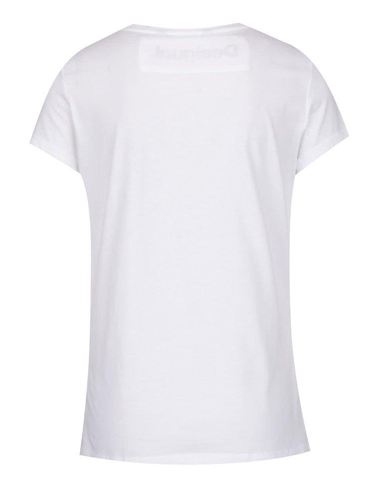 Tricou alb Desigual Mary cu print